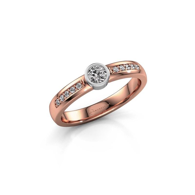 Engagement ring Ise 2 585 rose gold lab grown diamond 0.275 crt