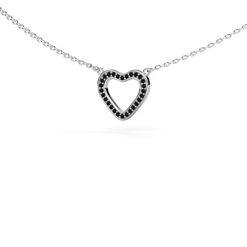 Hanger Heart 3 585 witgoud zwarte diamant 0.084 crt