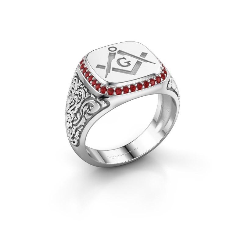 Men's ring Hugo 925 silver ruby 1.2 mm