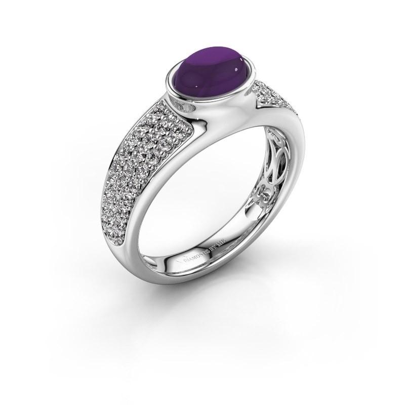 Ring Tatyana 950 platina amethist 7x5 mm