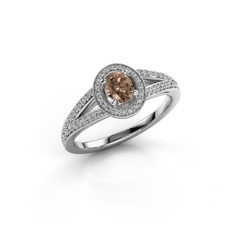 Verlovings ring Angelita OVL 950 platina bruine diamant 0.703 crt