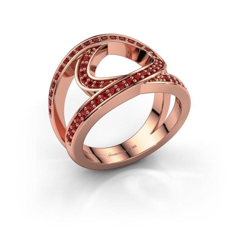 Ring Louise 375 rosé goud robijn 1.2 mm