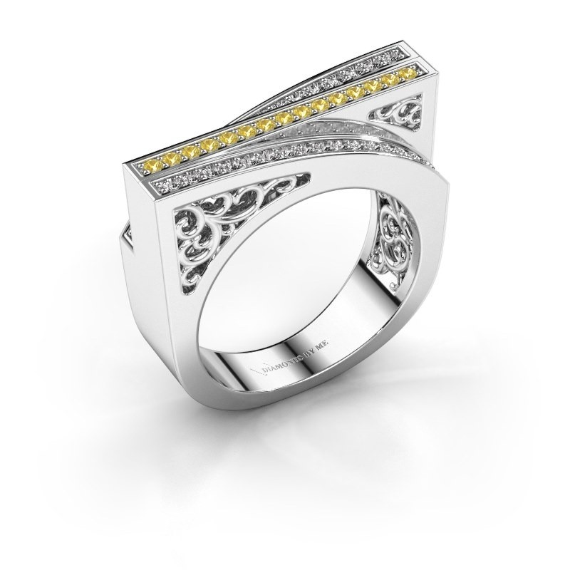 Ring Magda 585 white gold yellow sapphire 1.2 mm