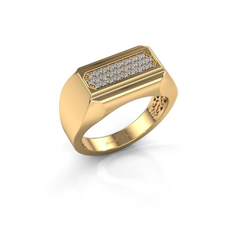 Heren ring Gerard 375 goud zirkonia 1.4 mm