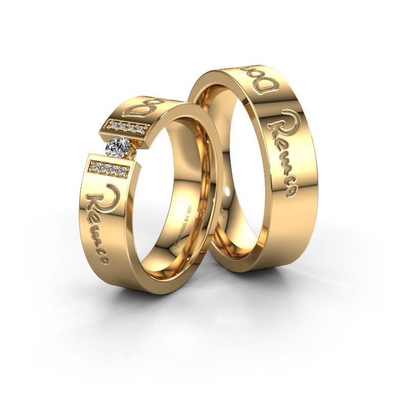 Trouwringen set WH2094LM16C ±6x2.2 mm 14 karaat goud diamant 0.10 crt