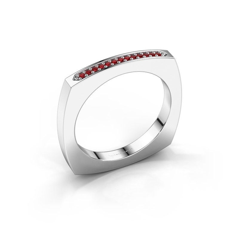 Stackable ring Ashley 925 silver ruby 1 mm