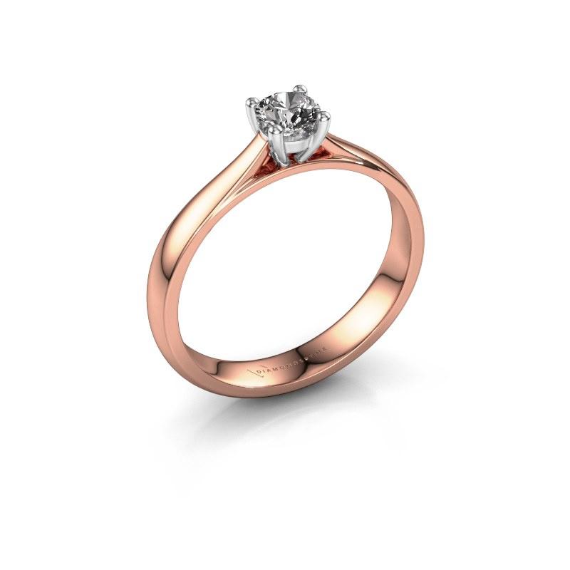 Engagement ring Sam 585 rose gold zirconia 4.2 mm
