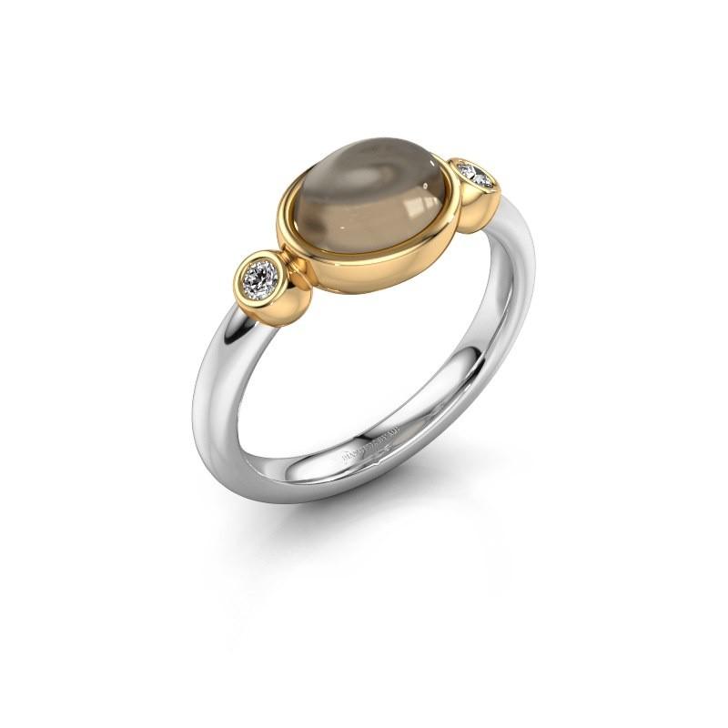 Ring Liane 585 white gold smokey quartz 8x6 mm