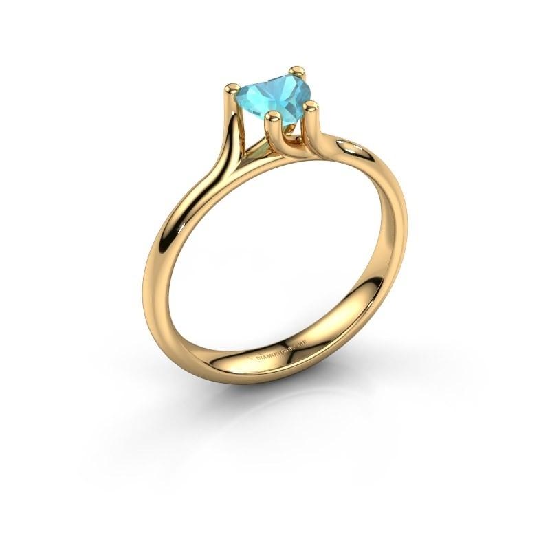 Verlobungsring Dewi Heart 375 Gold Blau Topas 5 mm