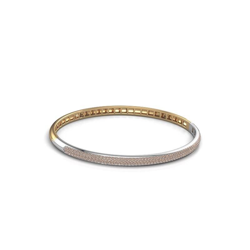 Slavenarmband Emely 4mm 585 goud bruine diamant 1.178 crt