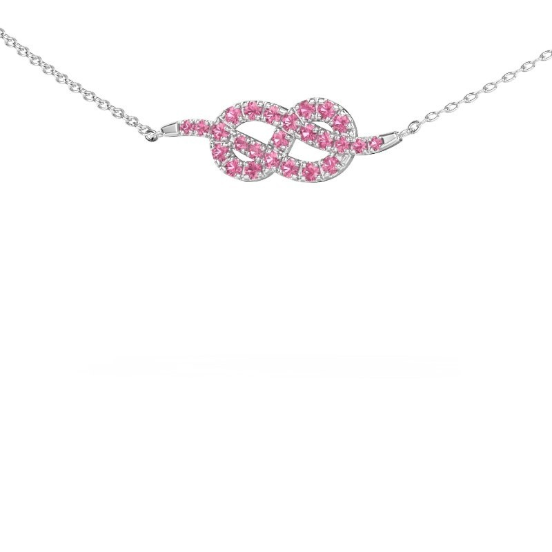Collier barre Infinity 1 585 or blanc saphir rose 1.1 mm