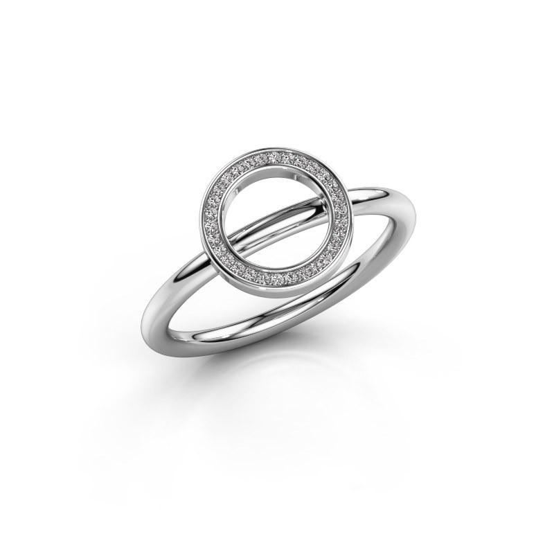 Ring Shape round large 375 witgoud diamant 0.075 crt