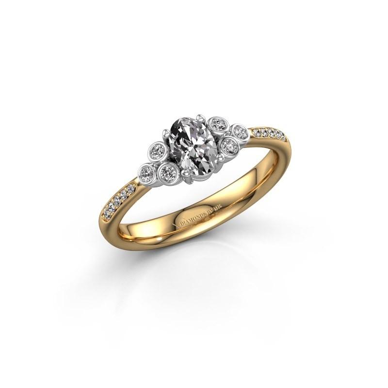 Bague de fiançailles Lucy 2 585 or jaune diamant synthétique 0.969 crt