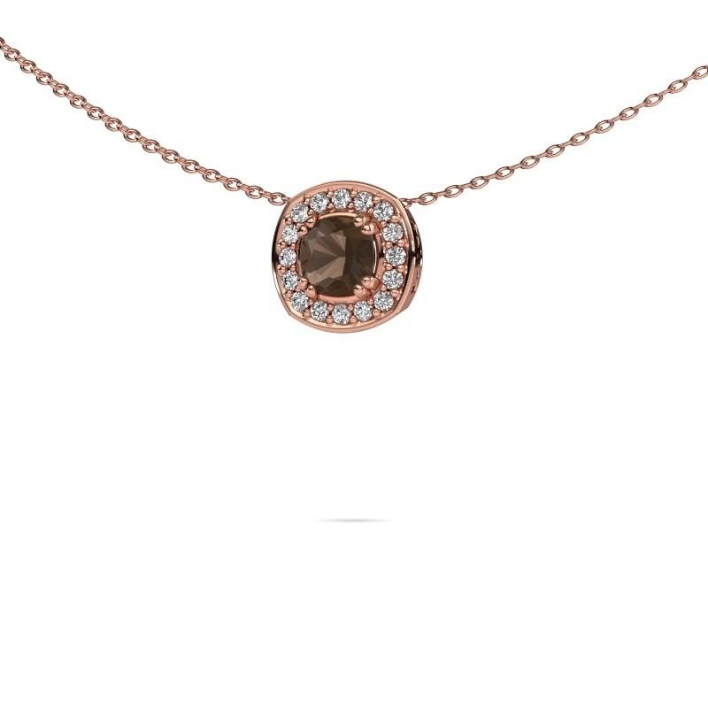 Ketting Carolina 375 rosé goud rookkwarts 5 mm