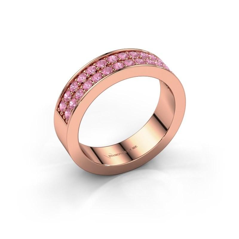 Aanschuifring Catharina 6 375 rosé goud roze saffier 1.7 mm