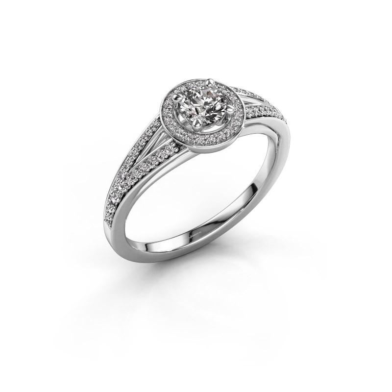 Aanzoeksring Angelita RND 585 witgoud diamant 0.478 crt
