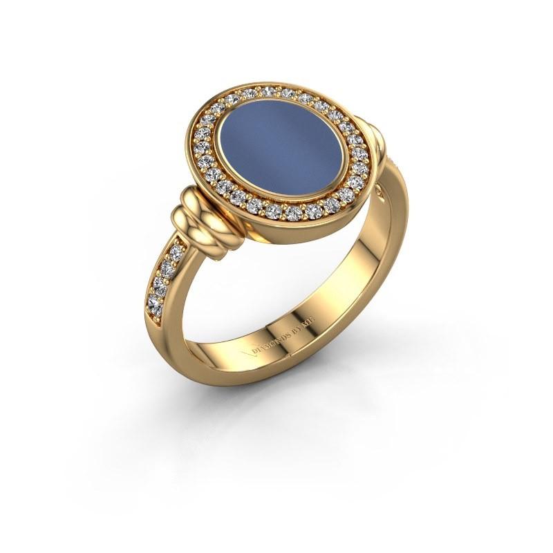 Zegelring Bailey 585 goud blauw lagensteen 10x8 mm