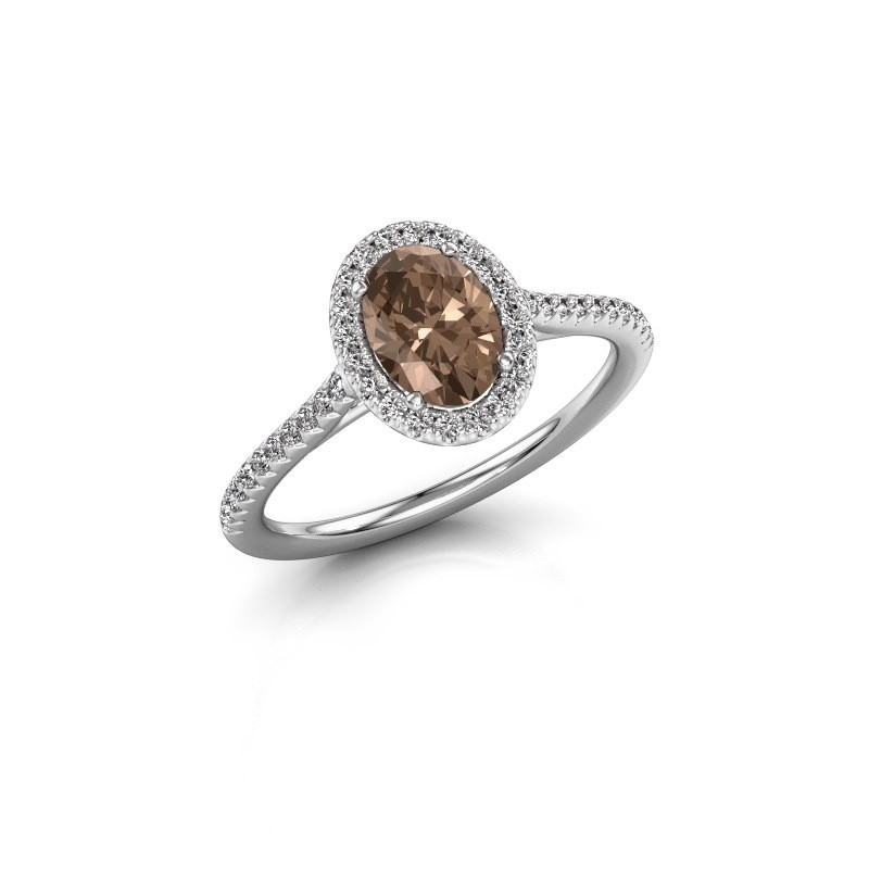 Engagement ring Seline 2 925 silver brown diamond 1.081 crt