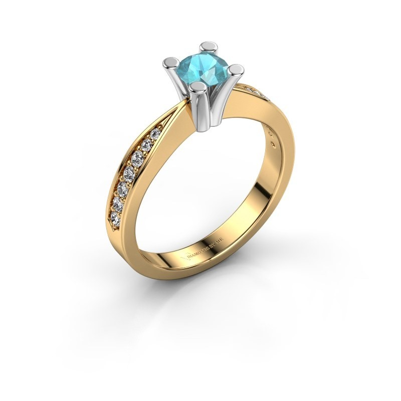 Promise ring Ichelle 2 585 goud blauw topaas 4.7 mm