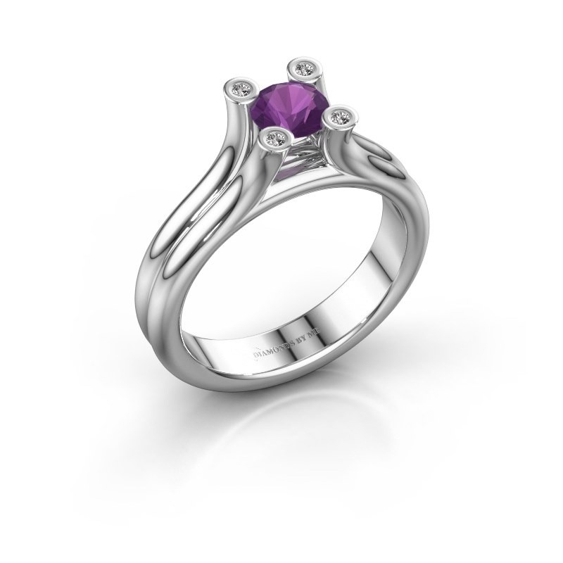 Engagement ring Stefanie 1 375 white gold amethyst 5 mm