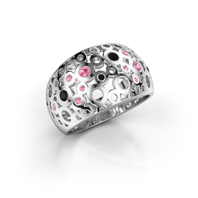 Ring Jaylinn 2 950 platina roze saffier 2.2 mm