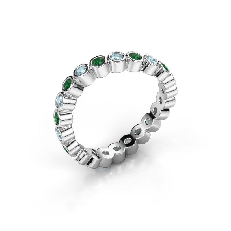 Ring Liz 925 zilver smaragd 2 mm