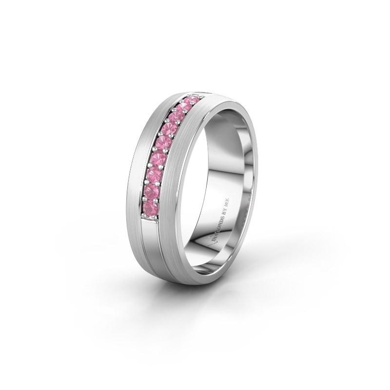 Trouwring WH0413L26APM 925 zilver roze saffier ±6x1.7 mm