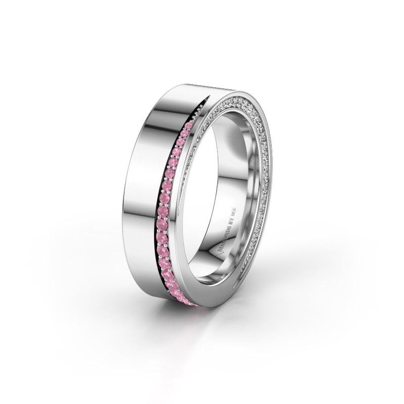 Trouwring WH1002L15DP 585 witgoud roze saffier ±6x2.3 mm