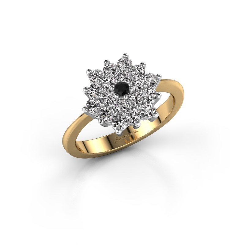 Engagement ring Vickey 2 585 gold black diamond 0.036 crt
