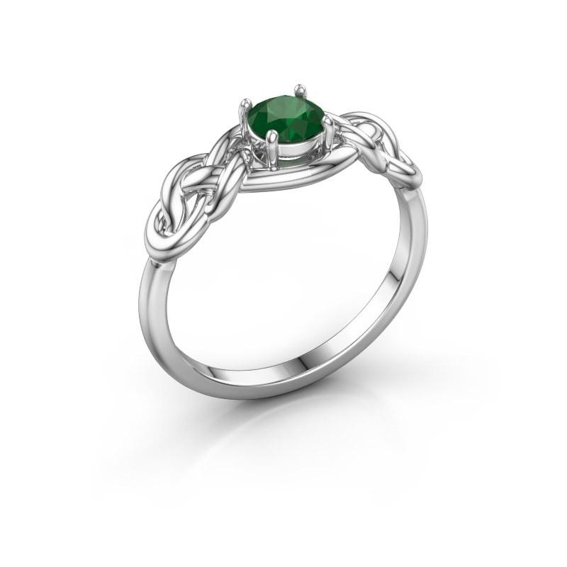 Ring Zoe 585 witgoud smaragd 5 mm