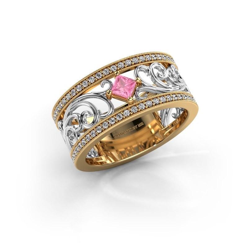 Ring Danae 585 goud roze saffier 3 mm
