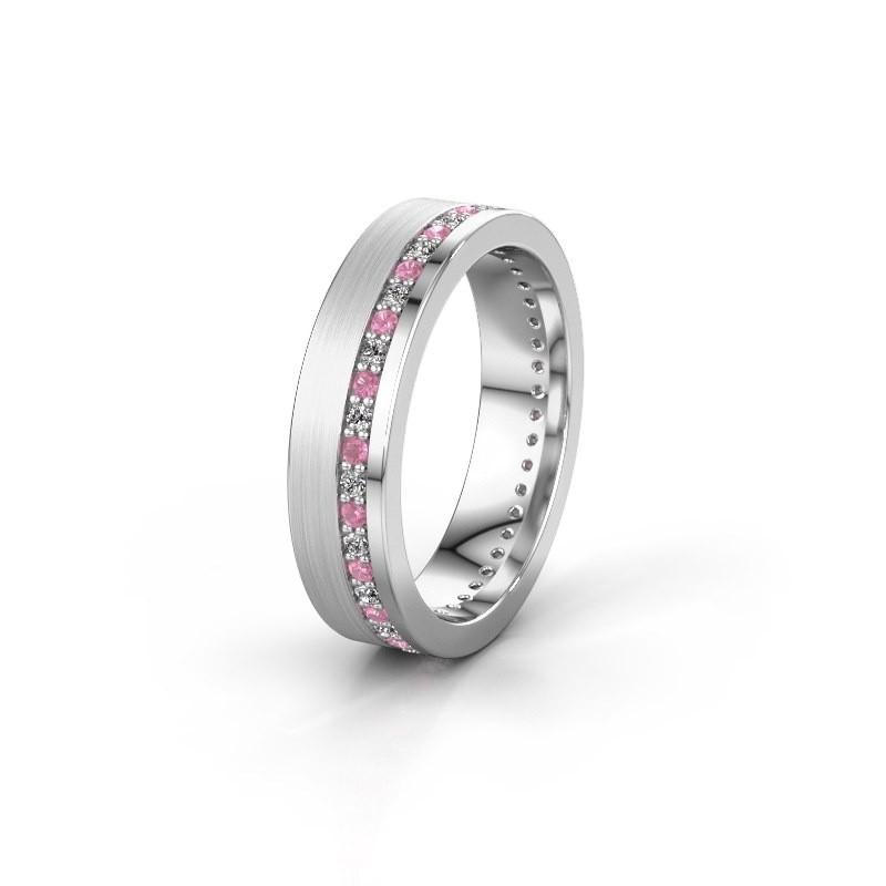 Trouwring WH0303L15BPM 925 zilver roze saffier 1.3 mm ±5x2 mm