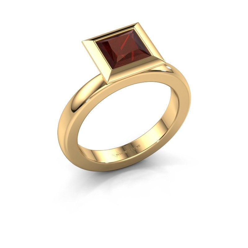 Stapelring Trudy Square 585 goud granaat 6 mm
