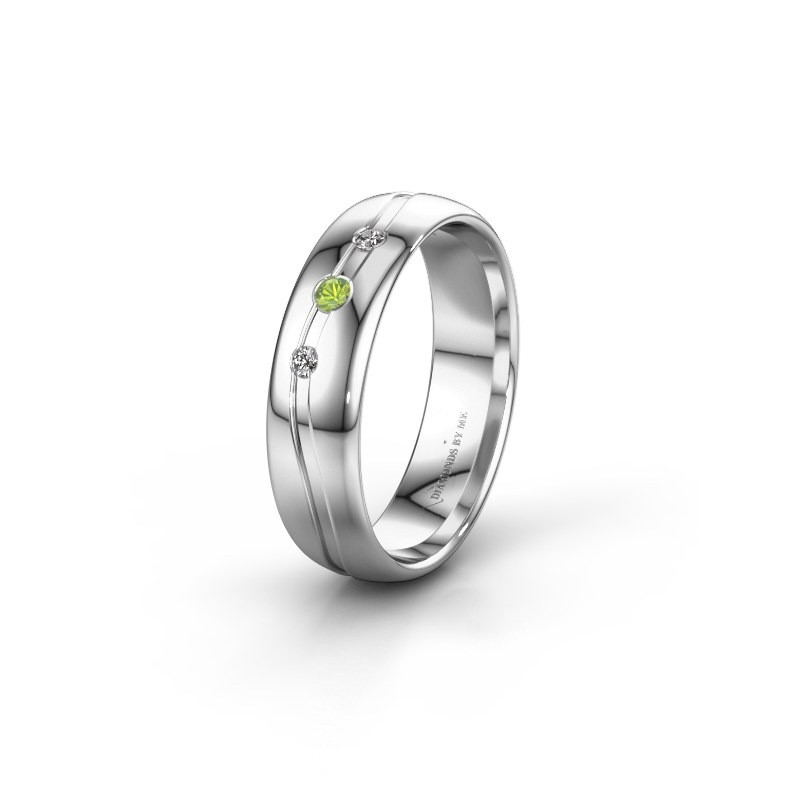 Friendship ring WH0907L35X 950 platinum peridot ±5x1.4 mm