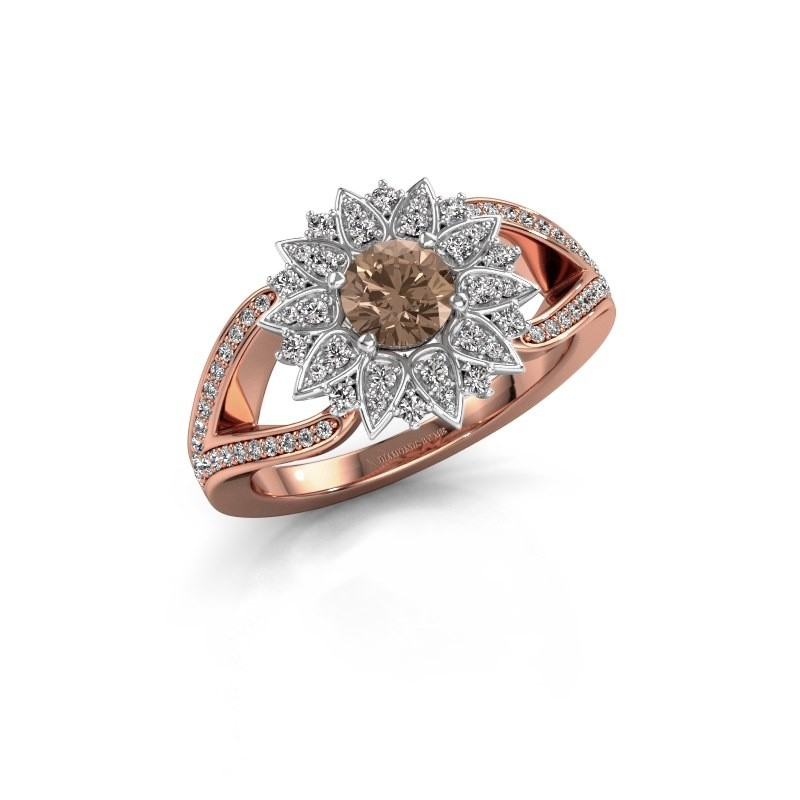 Aanzoeksring Chasidy 2 585 rosé goud bruine diamant 0.50 crt