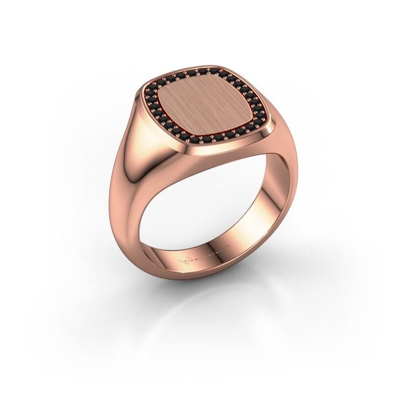 Men's ring Floris Cushion 3 375 rose gold black diamond 0.270 crt