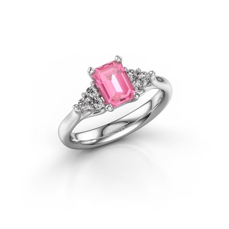 Verlovingsring Monika EME 585 witgoud roze saffier 7x5 mm