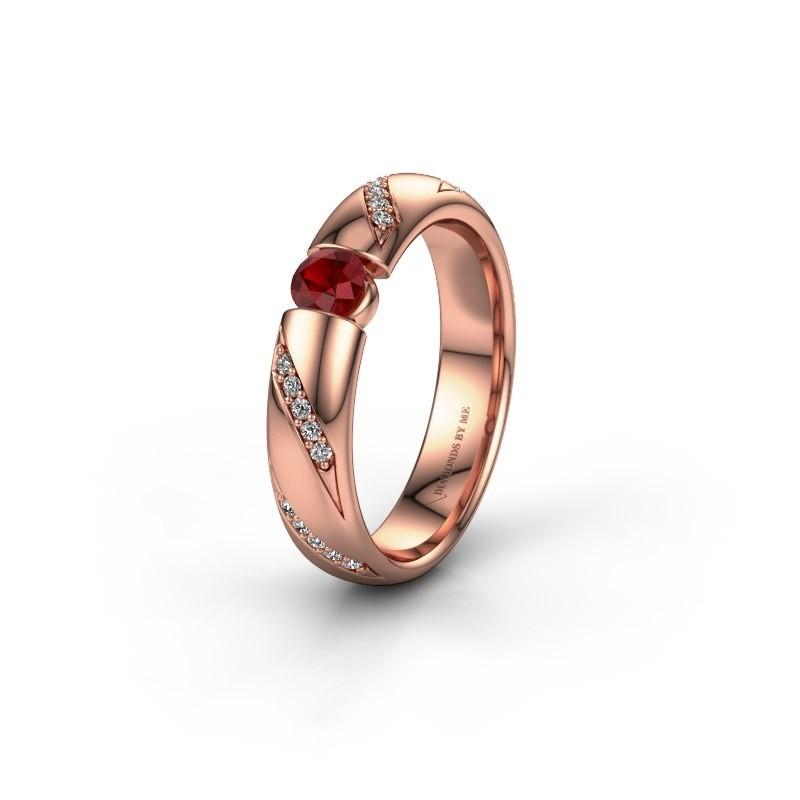 Trouwring WH2102L34A 375 rosé goud robijn ±4x1.7 mm