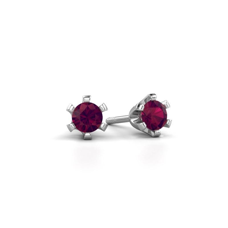 Stud earrings Shana 950 platinum rhodolite 4 mm