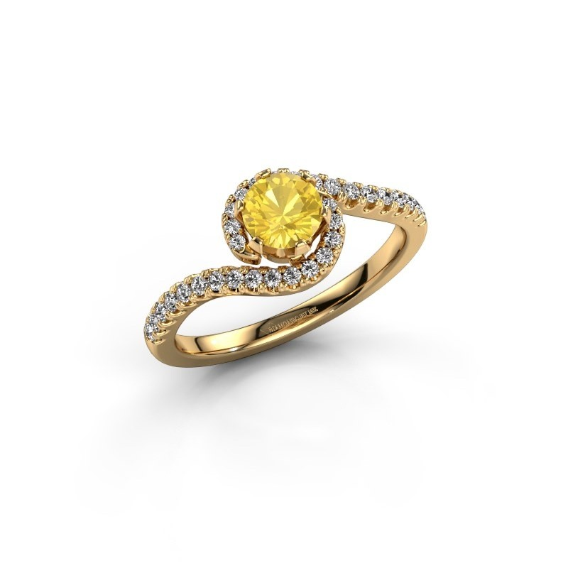 Engagement ring Elli 375 gold yellow sapphire 5 mm