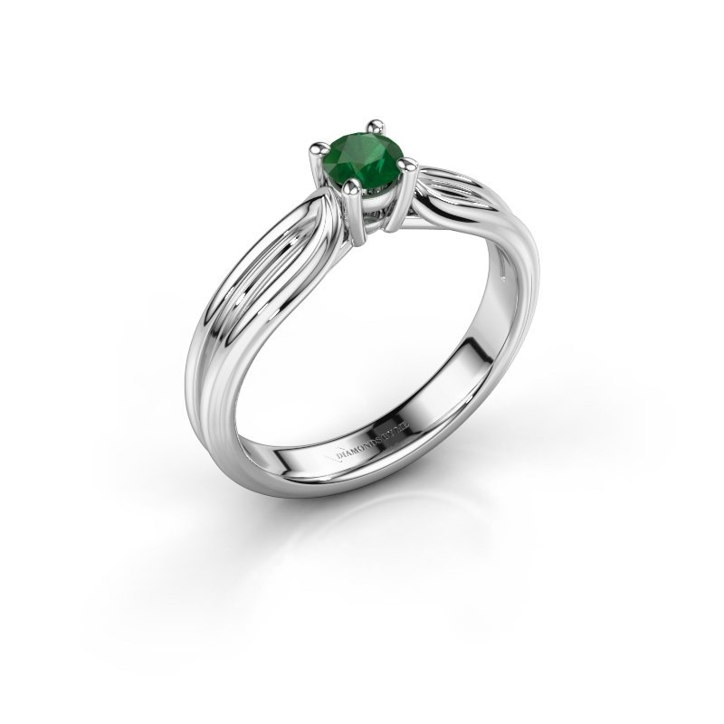 Verlovingsring Antonia 1 925 zilver smaragd 4 mm