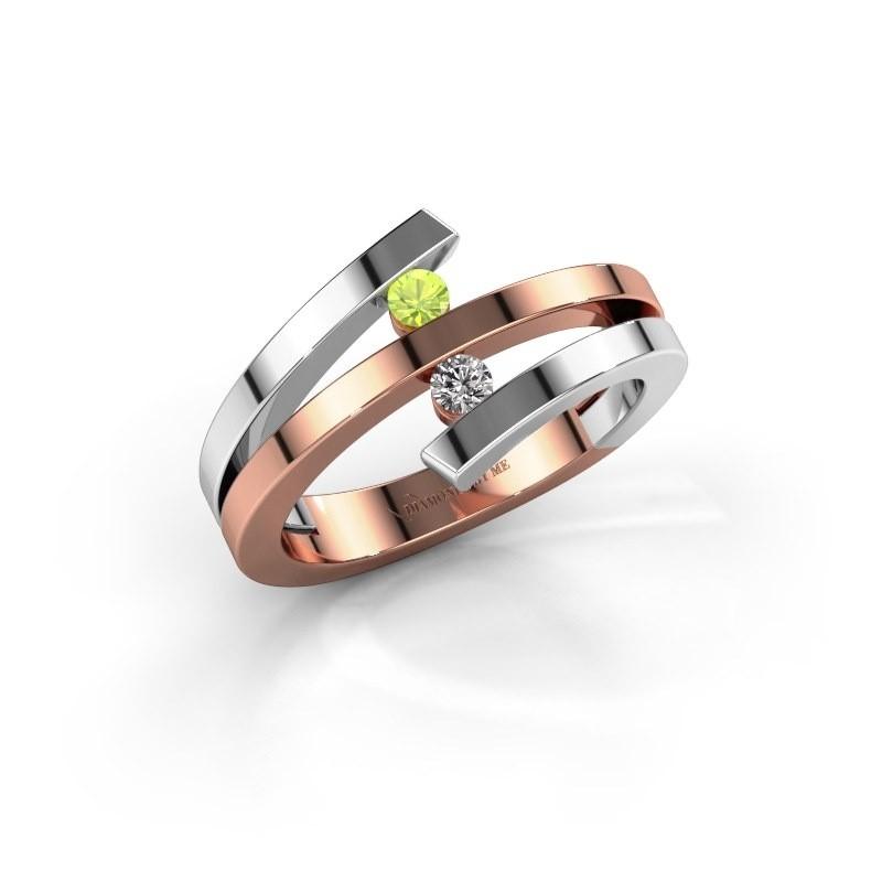 Ring Synthia 585 rosé goud peridoot 2.5 mm