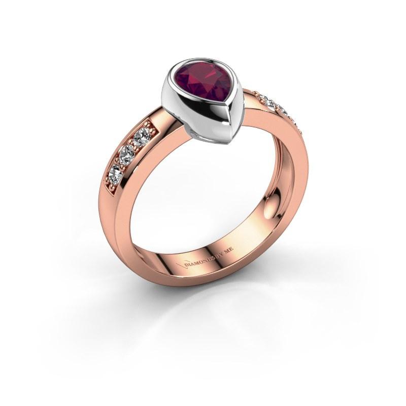 Ring Charlotte Pear 585 rose gold rhodolite 8x5 mm