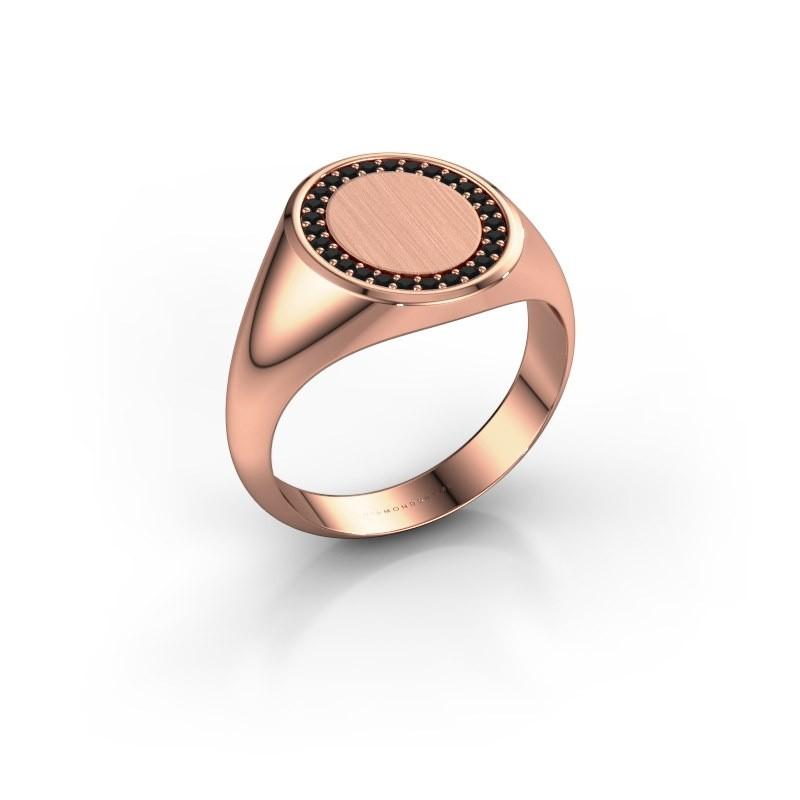 Men's ring Floris Oval 3 375 rose gold black diamond 0.243 crt