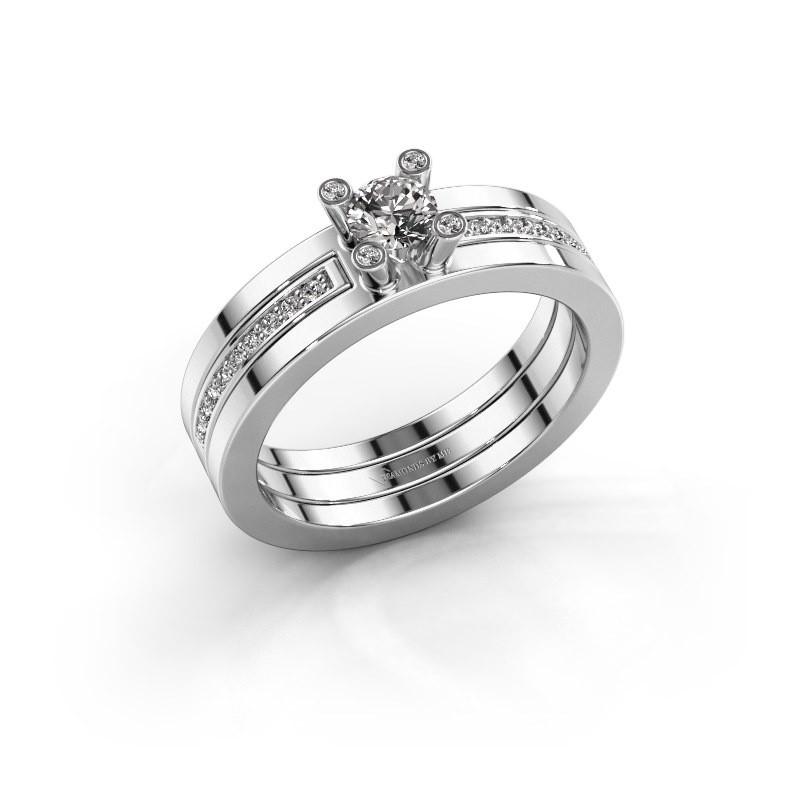 Ring Alisha 585 witgoud zirkonia 4 mm