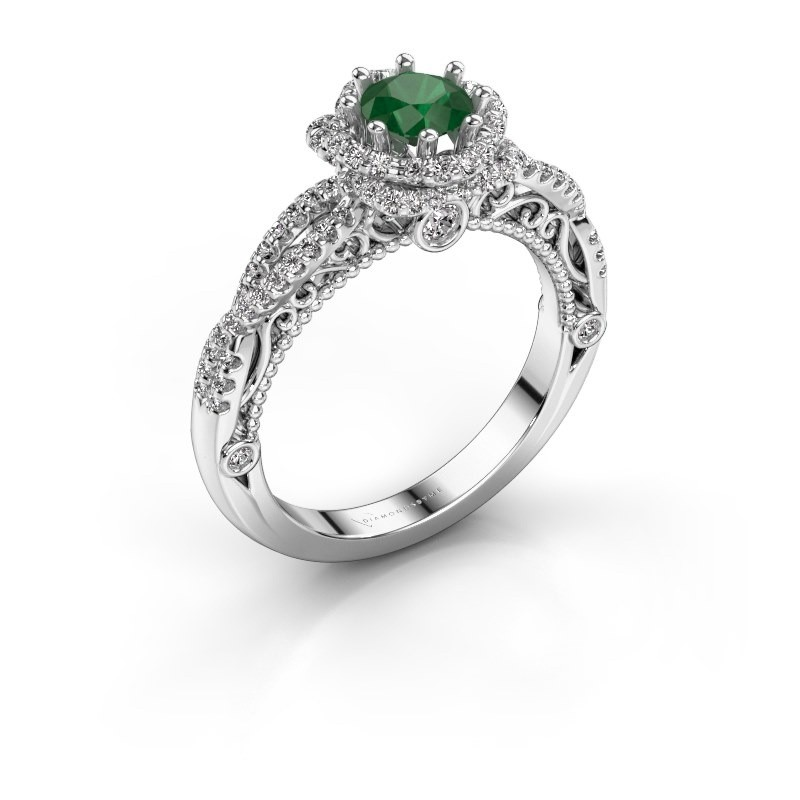 Engagement ring Lysanne 585 white gold emerald 5 mm