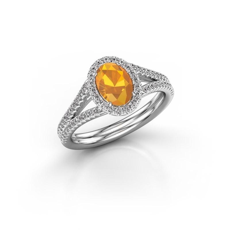 Engagement ring Rachele 2 585 white gold citrin 7x5 mm