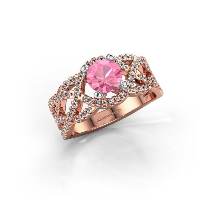 Verlovingsring Jeni 585 rosé goud roze saffier 6.5 mm