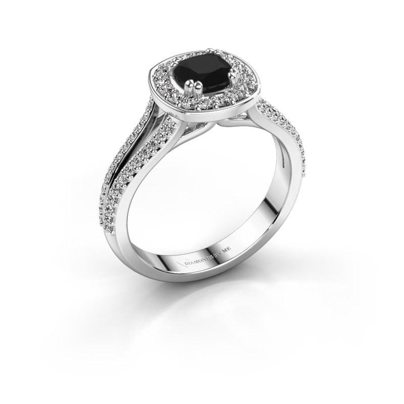 Engagement ring Carolina 2 925 silver black diamond 1.00 crt