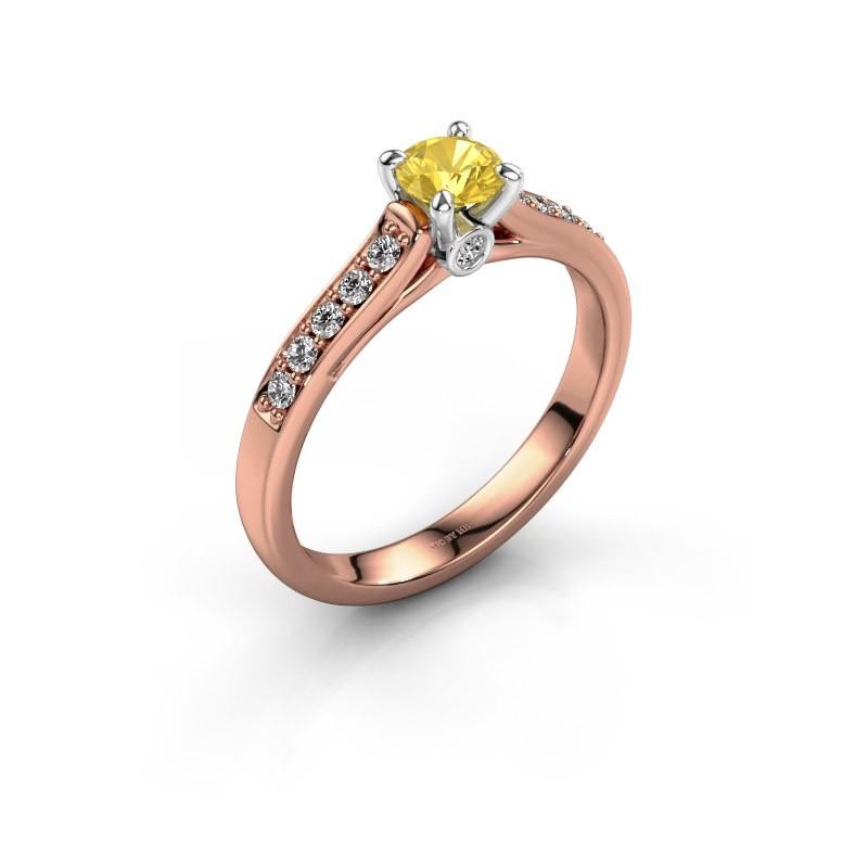Verlovingsring Valorie 2 585 rosé goud gele saffier 4.7 mm
